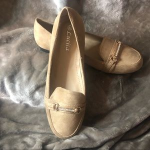 Faux Suede Rhinestone Loafers